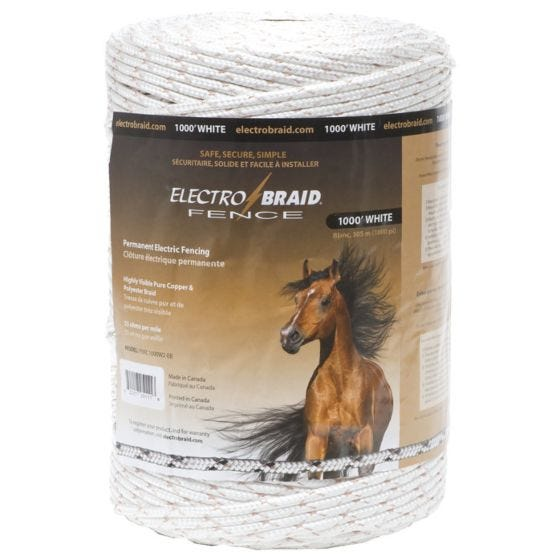 ElectroBraid® Electric Fencing - White - 1-Pack